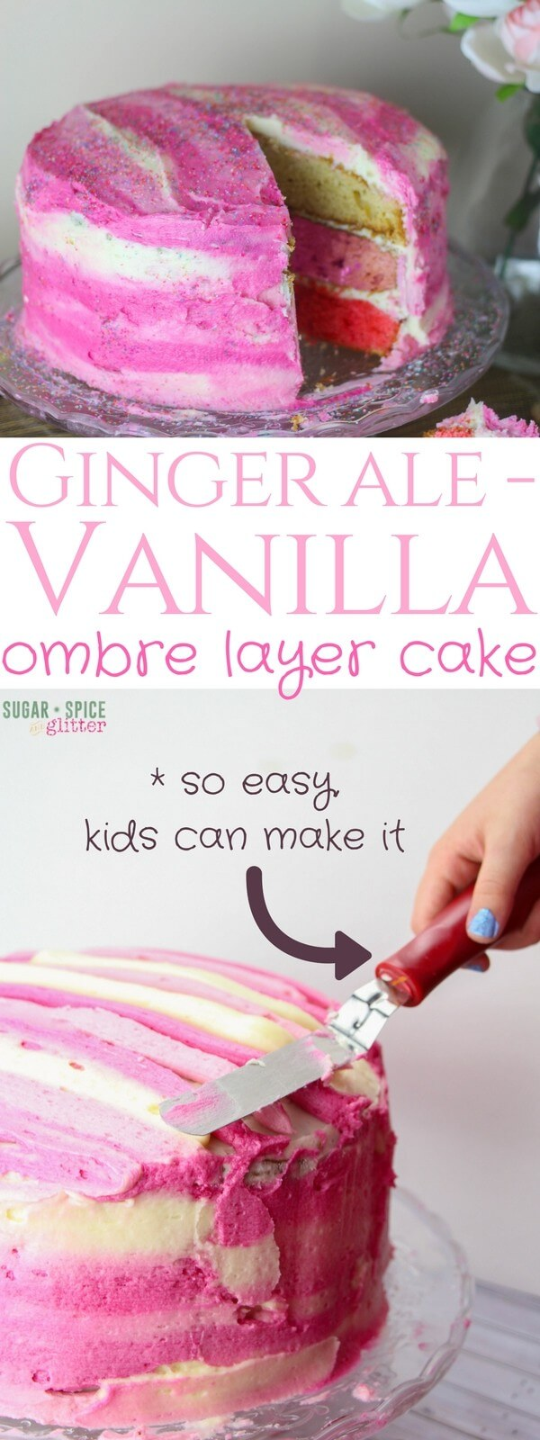 This GINGER ALE VANILLA cake tastes AMAZING and looks gorgeous at any occasion - and would you believe that it's so easy, your kids can help with every step? Underneath that cute, watercolor-effect ginger ale vanilla buttercream is an unexpected pink ombre layer cake that tastes like a mix of ginger ale and cream soda