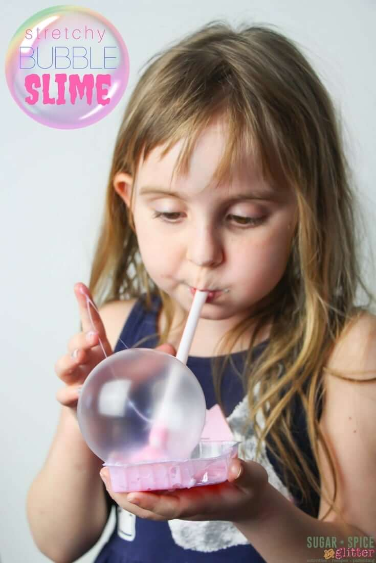 Bubble Slime - the perfect stretchy slime for blowing bubbles! A fun way to play with slime without your hands