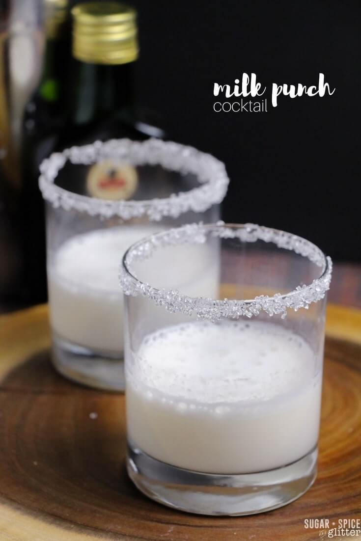 How to make a creamy and sweet milk punch cocktail with brandy or bourbon. Perfect for Mardi Gras or as an alternative to eggnog at Christmastime