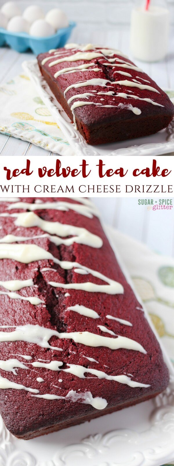 Easy and delicious red velvet tea cake with cream cheese drizzle - this cake uses natural cocoa powder to achieve it's bright red color, you don't even have to use food coloring!