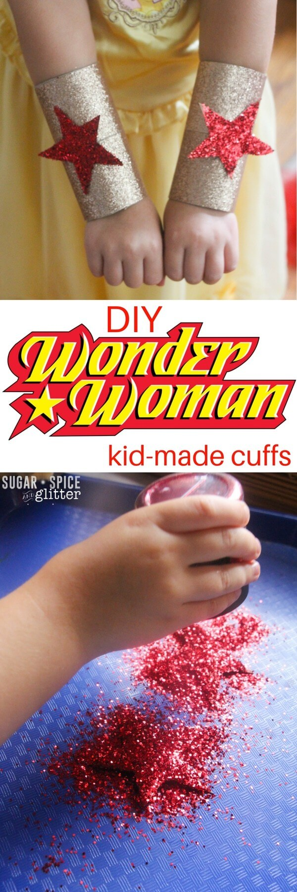 DIY Wonder Woman Cuffs for an easy homemade costume kids can make themselves! This quick and easy craft transforms it's maker into an indestructible superhero with just 10 minutes of crafting time and some glitter