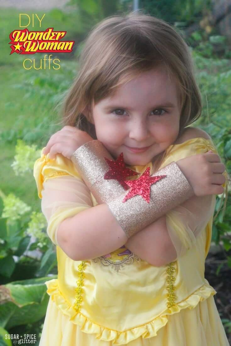 DIY Wonder Woman Cuffs, a fun superhero craft for little girls or boys - and an quick DIY costume idea