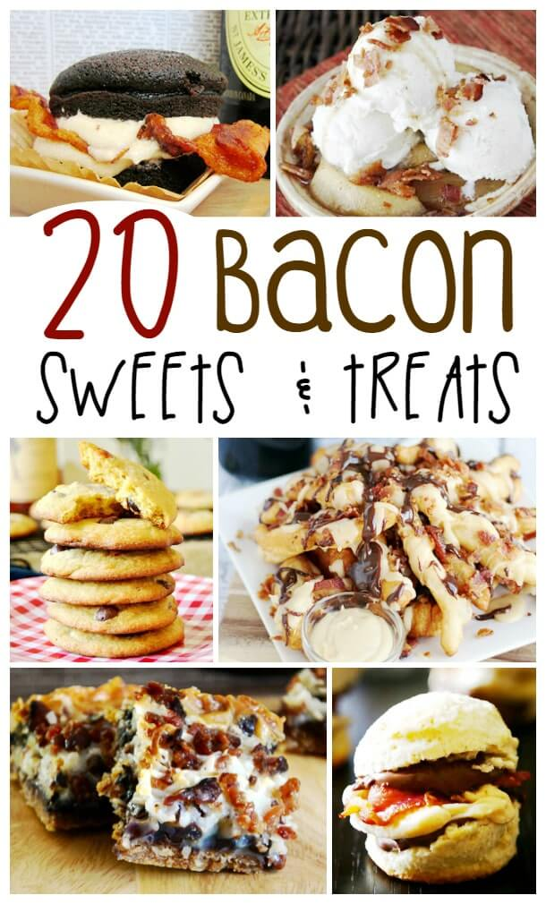 20+ Desserts with Bacon - sweet treats with a savory edge. From bacon cookies, chocolate bacon cupcakes and loaded maple bacon donut fries... are you drooling yet?