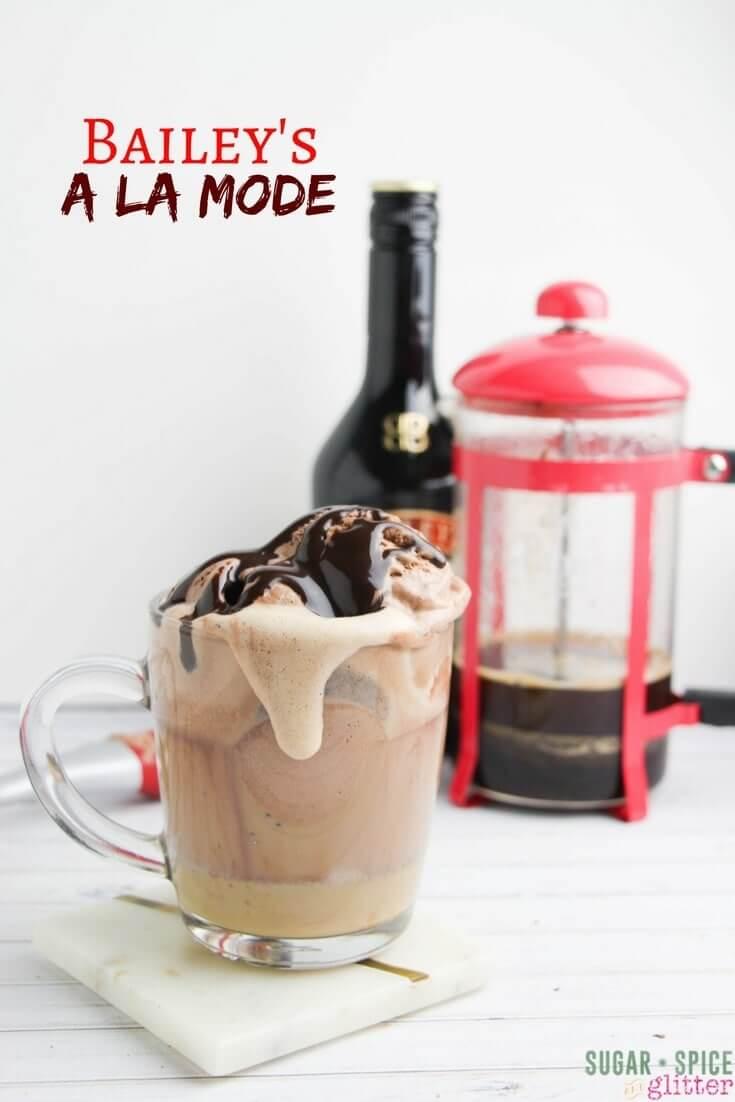 Bailey's Coffee a la Mode - a fun take on a coffee affogato, an ice cream coffee cocktail recipe perfect for dessert!