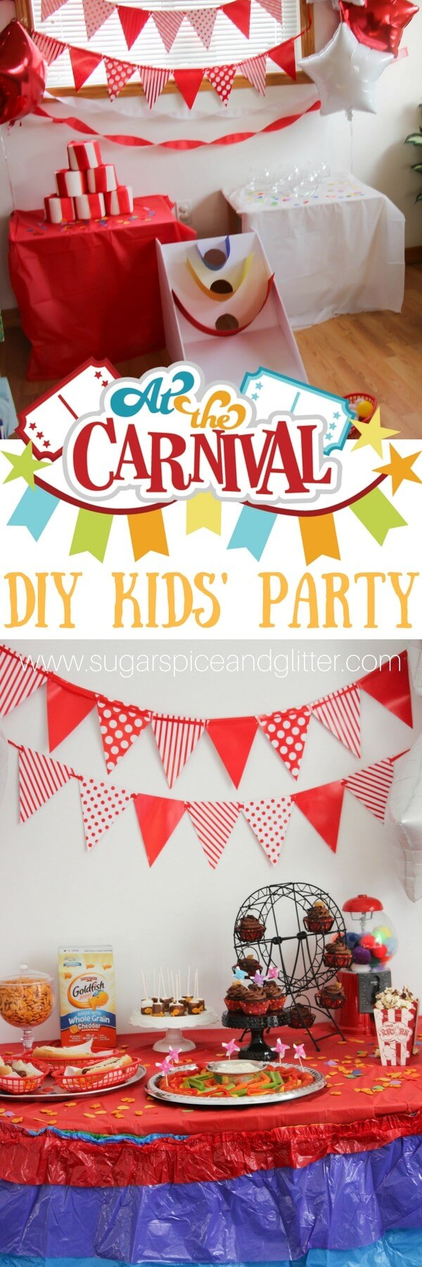 DIY Carnival Kids Party with 5 games under $5, easy themed decor and a mix of healthy and carnival-inspired treats.
