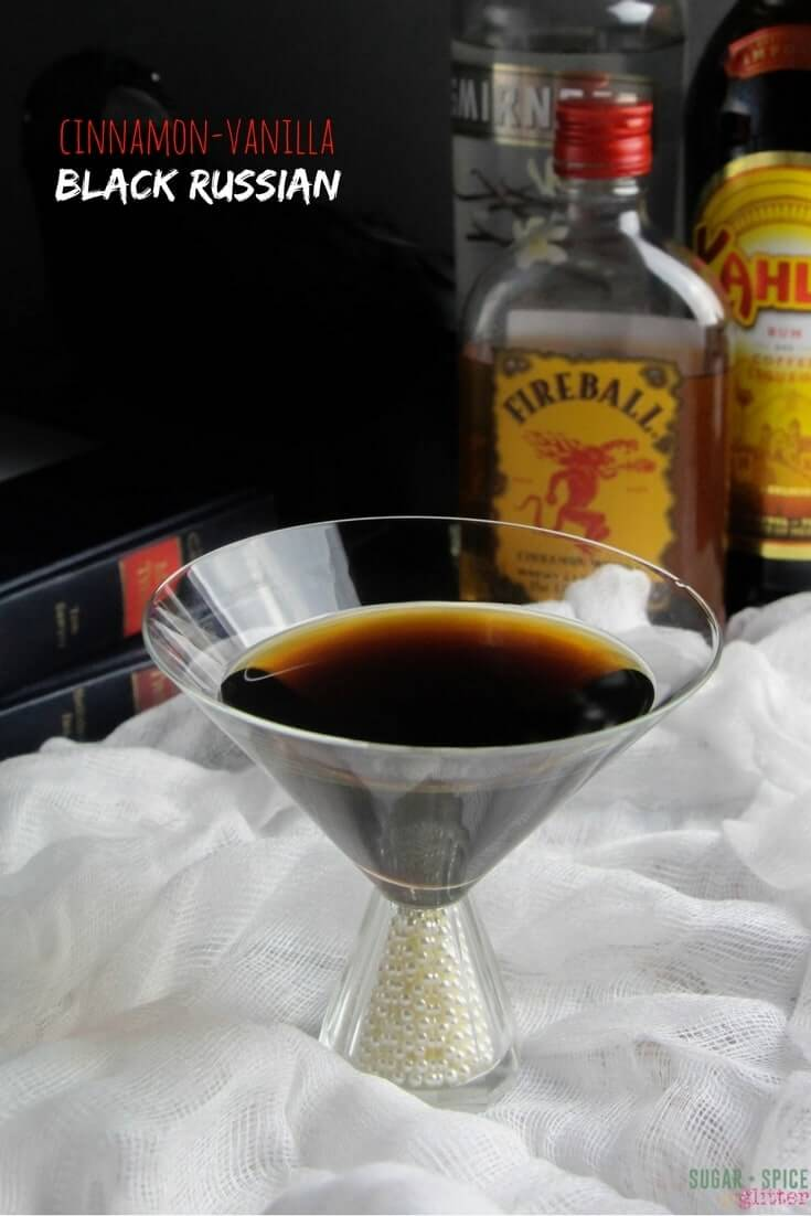 Cinnamon Vanilla Black Russian Cocktail inspired by the Raven. A perfect cinnamon coffee cocktail for drinking by the fire