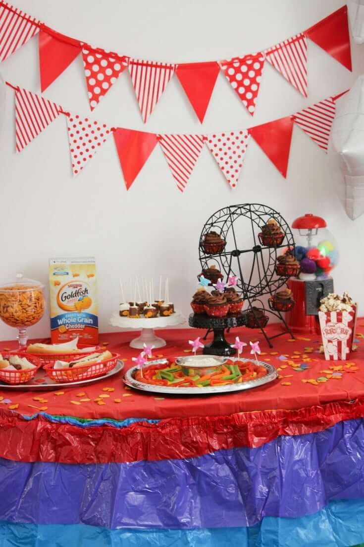At the Carnival DIY Kids' Party - fun DIY carnival games, quick carnival-inspired party food and decor ideas for a Carnival Party on a Budget