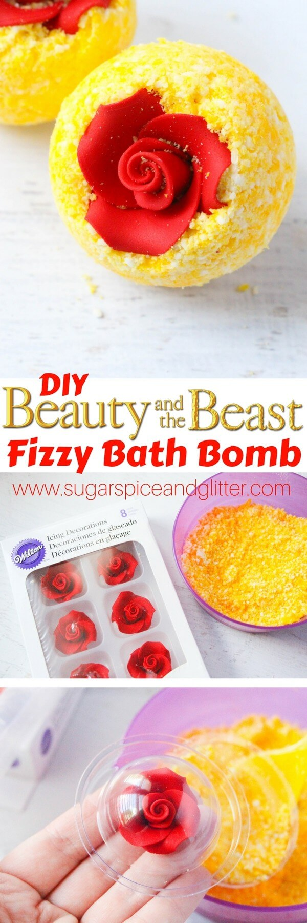 DIY Belle's Bath Bombs - a fun Disney DIY gift or addition to your Disney movie night. The perfect Beauty & the Beast craft for your bathroom