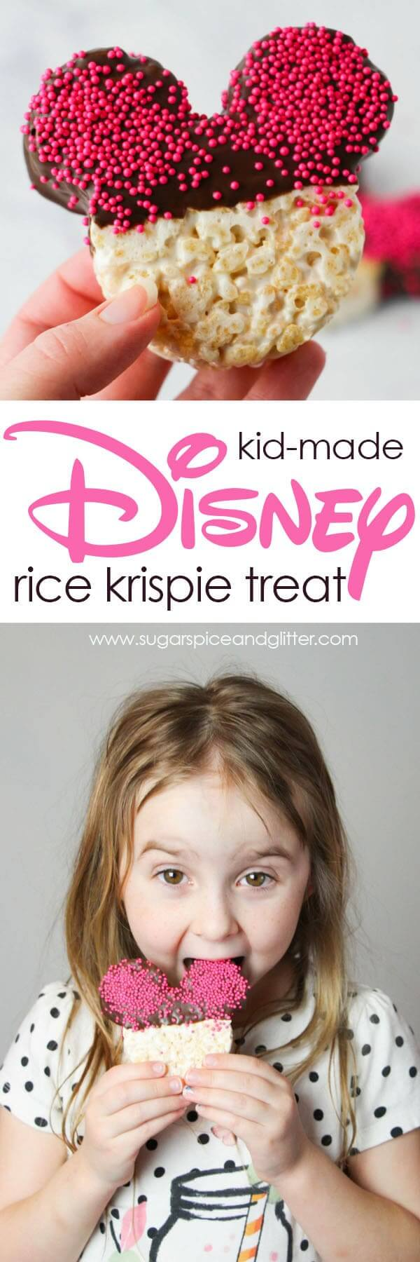 An easy Disney dessert kids can make to have a bit of the parks at home, these Mickey-shaped Rice Krispie treats are a classic treat that's allergy-safe for lunch boxes or playdates