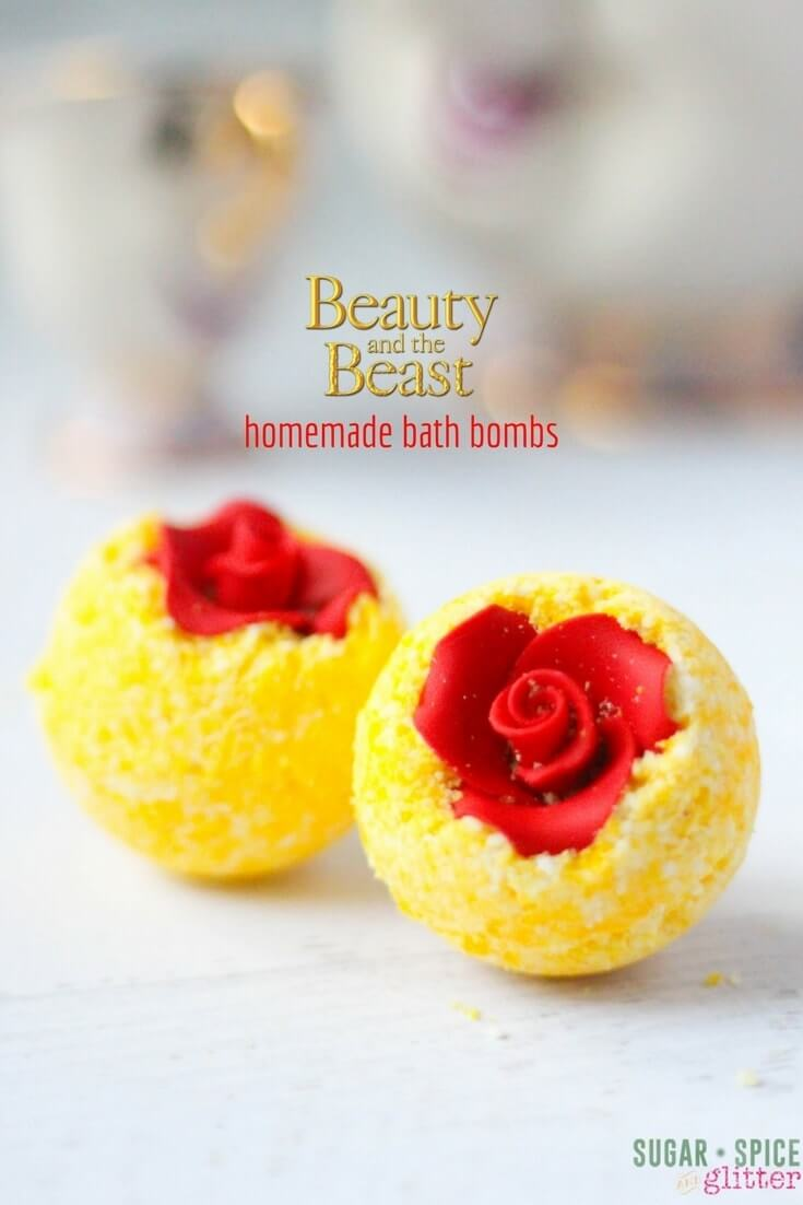 DIY Belle's Bath Bombs, a fun Disney craft for Beauty and the Beast fans craving some relaxation. A pretty homemade bath bomb recipe