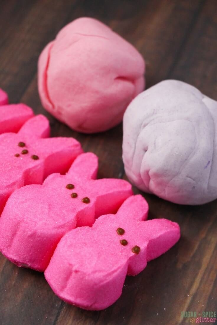 Stretchy and edible marshmallow play dough that dries into beautiful Easter ornaments