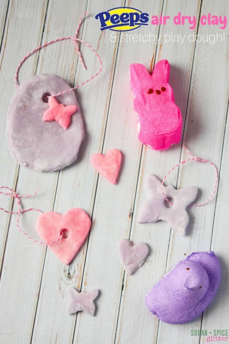 An easy and delicious marshmallow play dough that dries to make beautiful Easter ornaments - DIY air dry clay you can eat