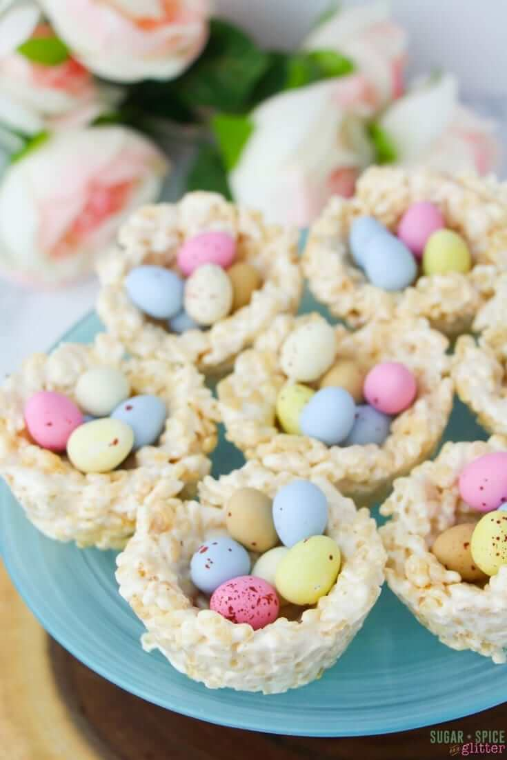 Easy no-bake Easter dessert for kids, these Mini Egg Rice Krispie Nests are quick and fun to make together