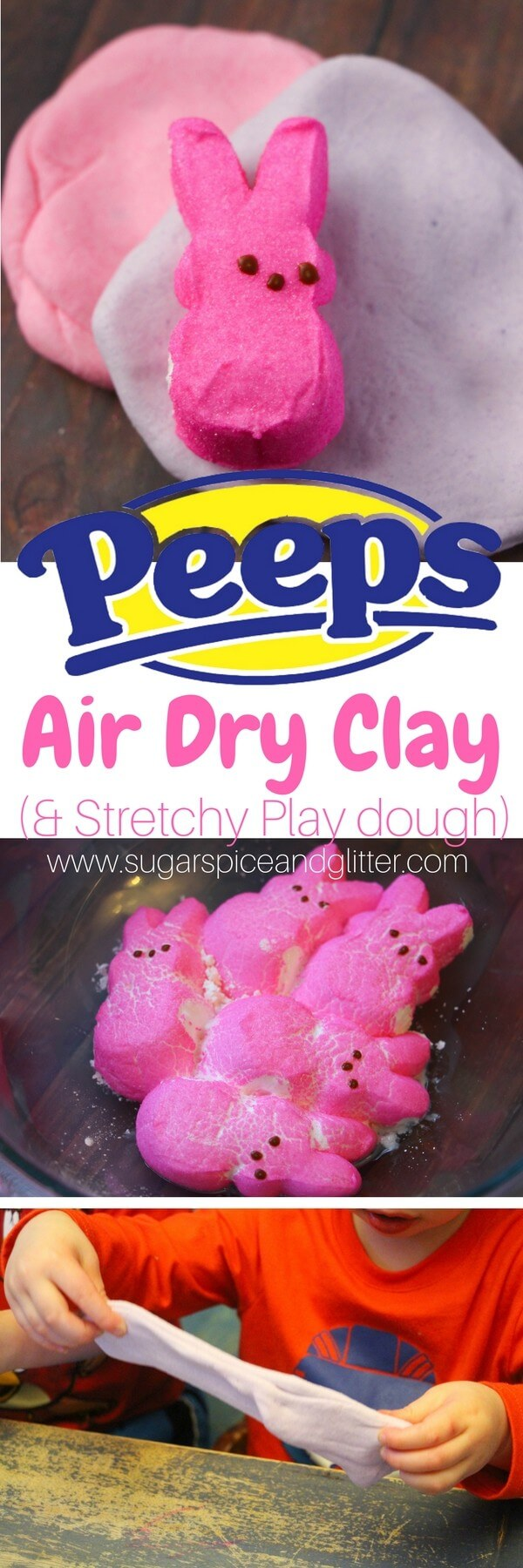 A delicious and easy recipe for Peeps Air Dry Clay - an edible marshmallow play dough that dries to make beautiful porcelain-style ornaments.