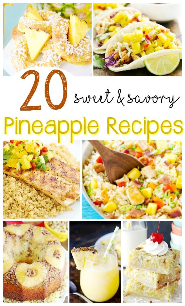A collection of delicious Pineapple Recipes, from sweet pineapple desserts to savoury pineapple salsas and more!