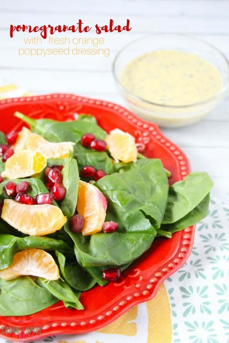 Vegan pomegranate salad with creamy orange poppyseed dressing - a delicious winter salad recipe