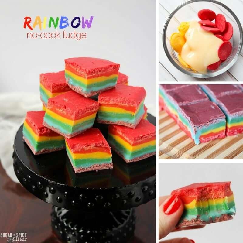 No-Cook Rainbow Fudge Recipe ⋆ Sugar, Spice and Glitter