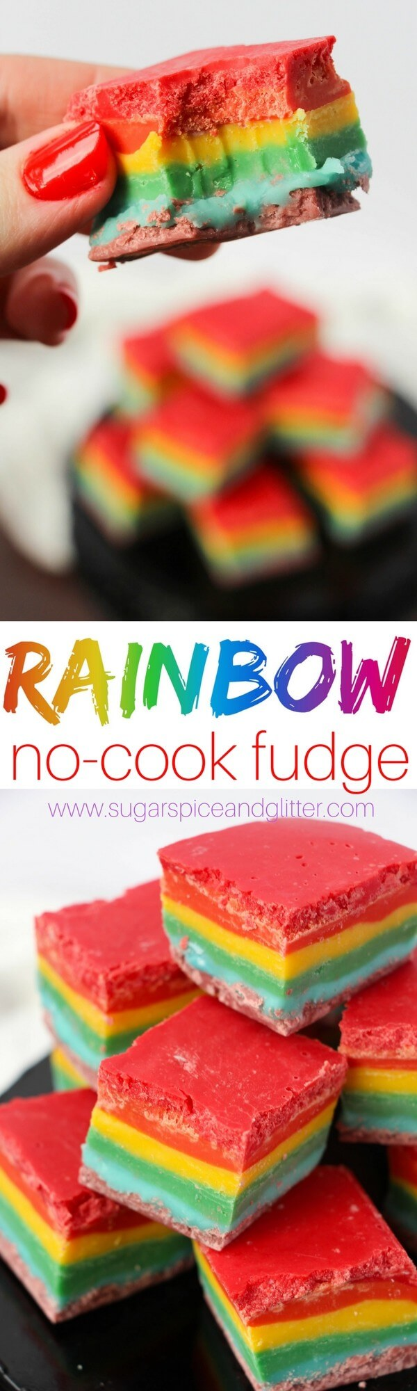 Sweet and colorful Rainbow No-Cook Fudge recipe perfect for a unicorn party, rainbow party or as a fun dessert at a baby shower for a rainbow baby. So easy the kids can help make it.