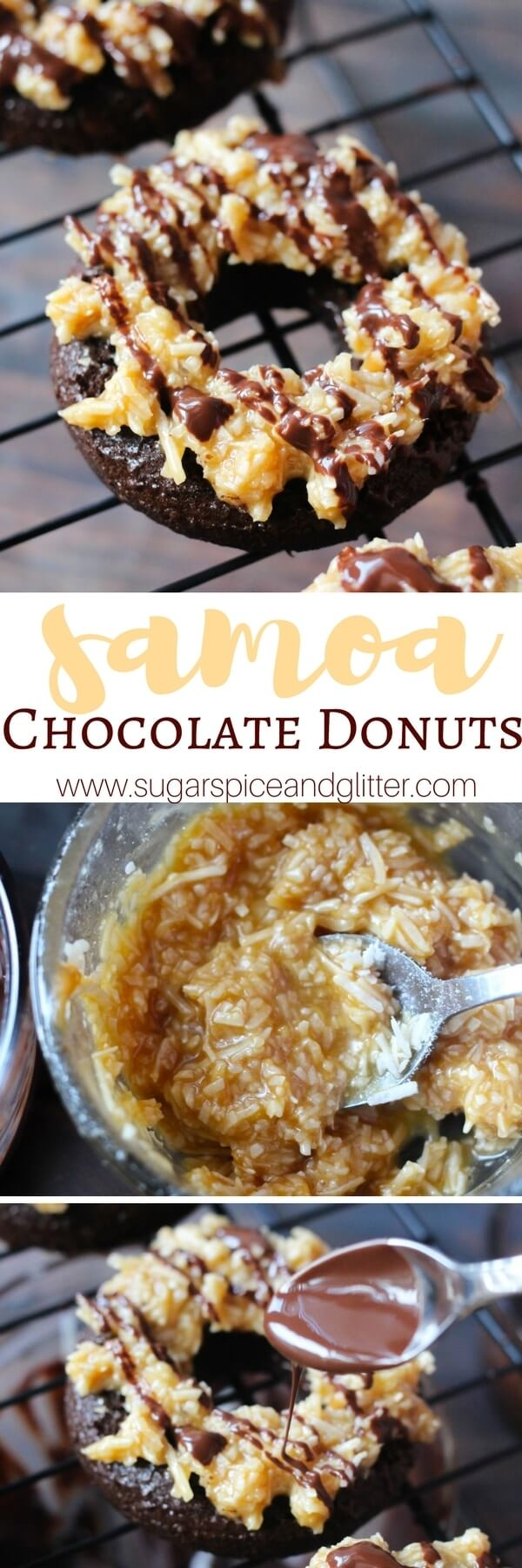 The best homemade donuts you will ever taste - these Samoa Chocolate Donuts are topped with crunchy, sweet caramel-coconut topping and drizzled with coconut oil-spiked chocolate for a delicious dessert that's even better than the original Samoas cookies