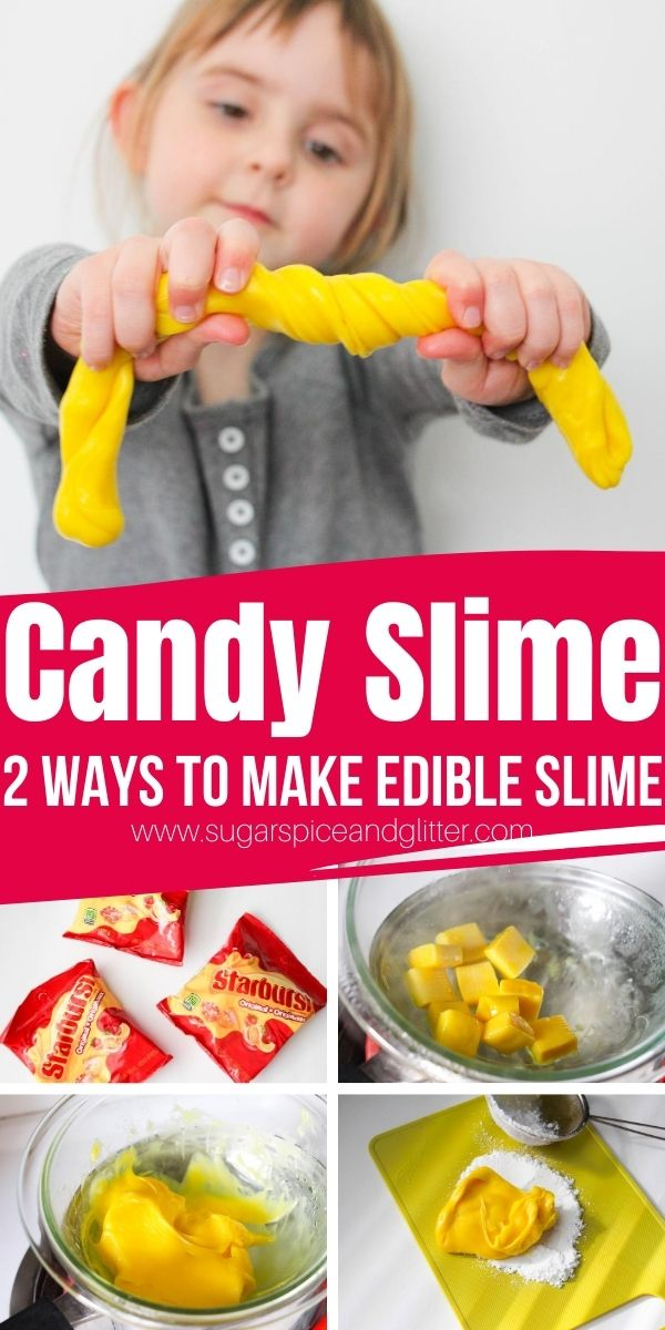An easy 2-ingredient candy slime that you can actually eat! Needless to say, this safe edible slime is borax-free