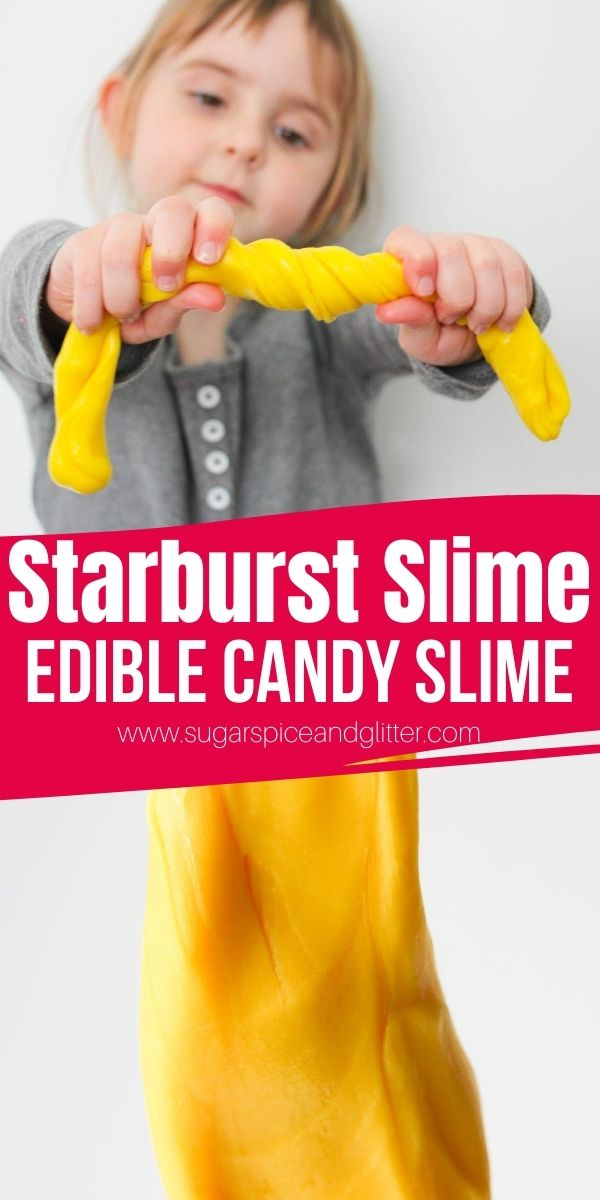 How to make edible candy slime using Starbursts or Gummy Bears! This super simple 2-ingredient slime recipe is the perfect alternative to glue-based slimes and a great way to use up leftover candy