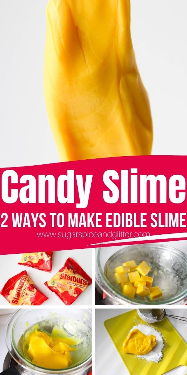 Yummy 2-ingredient Candy Slime recipe that you can actually eat! Edible slime is a safer option when you have younger siblings in the house or sensitive skin issues that get irritated by borax or liquid starch. (Needless to say this is borax-free slime.)