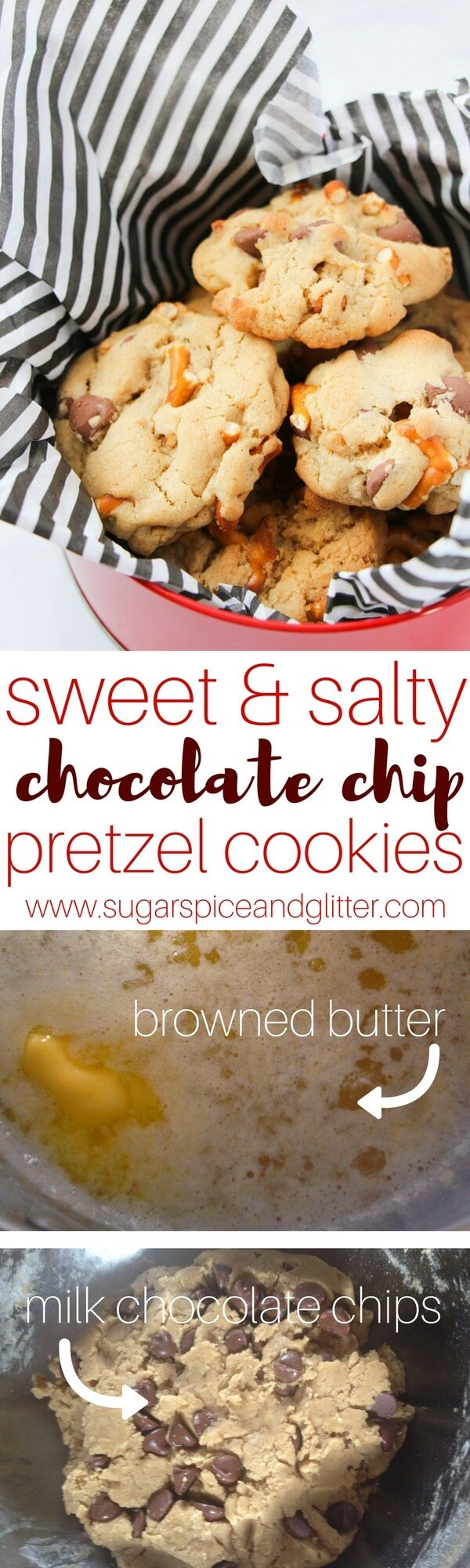 Salty-Sweet Pretzel Chocolate Chip Cookies are the perfect salty and sweet dessert - and perfect for gift giving!