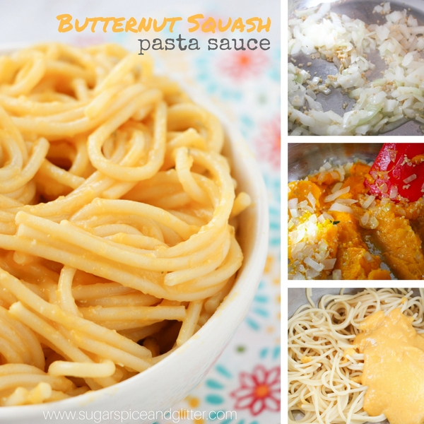 A delicious vegetable pasta sauce made with butternut squash - a delicious way to sneak extra veggies into your kids' meals. The perfect recipe for leftover squash