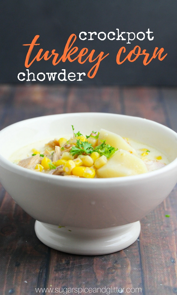A delicious and healthy turkey corn chowder recipe made in the crockpot