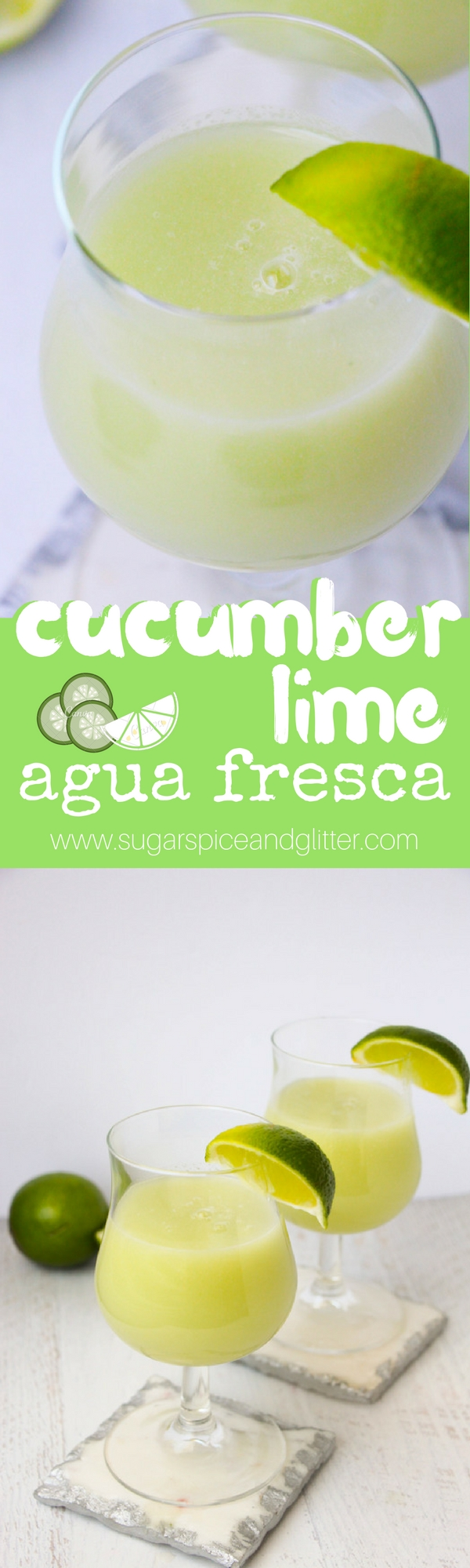Cucumber spa water taken up a notch! This cucumber lime agua fresca is a refreshing summer drink with a hint of mint