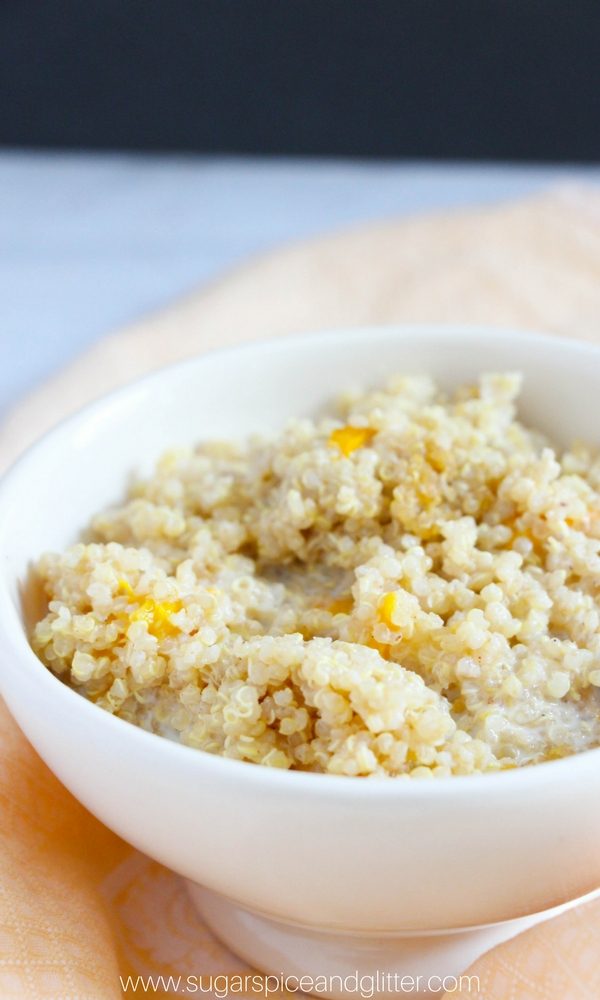 Make this healthy Instant Pot breakfast quinoa as an alternative to sugary oatmeal packets. Swap out the peaches for your favorite breakfast fruit