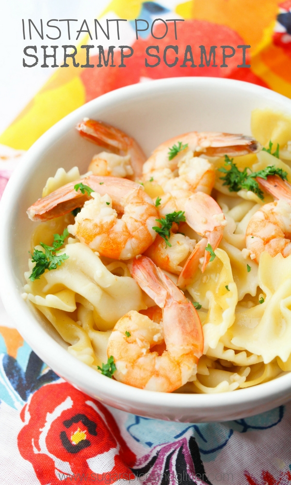 A delicious buttery and garlicky instant pot shrimp pasta recipe that the whole family will love