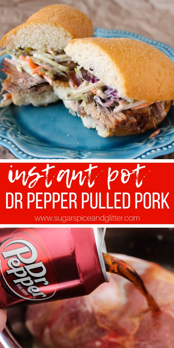 This super simple Dr Pepper Pulled Pork recipe is a delicious and flavorful twist on a classic pulled pork recipe. An instant pot pulled pork recipe that is flavorful, juicy and fork-tender
