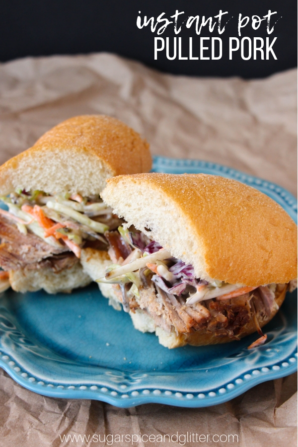 A saucy and delicious pulled pork recipe made in the instant pot, for a flavorful, fork-tender pulled pork that you can enjoy in so many different ways