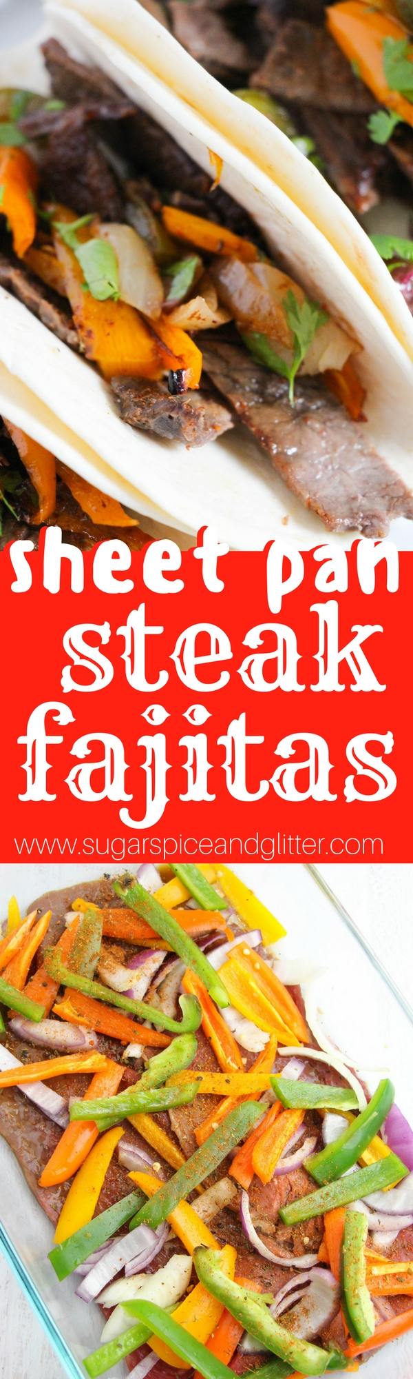 Easy sheet pan steak fajitas - delicious, flavorful steak fajitas with minimal effort. Prep this recipe the night before and just pop it in the oven 20 minutes before supper! Veg and protein packed