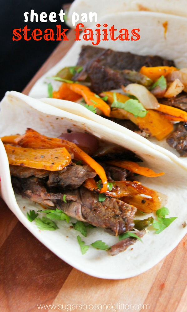 Sheet Pan Steak Fajitas - a delicious 15 minute dinner recipe, sheet pan tacos are perfect for family movie night