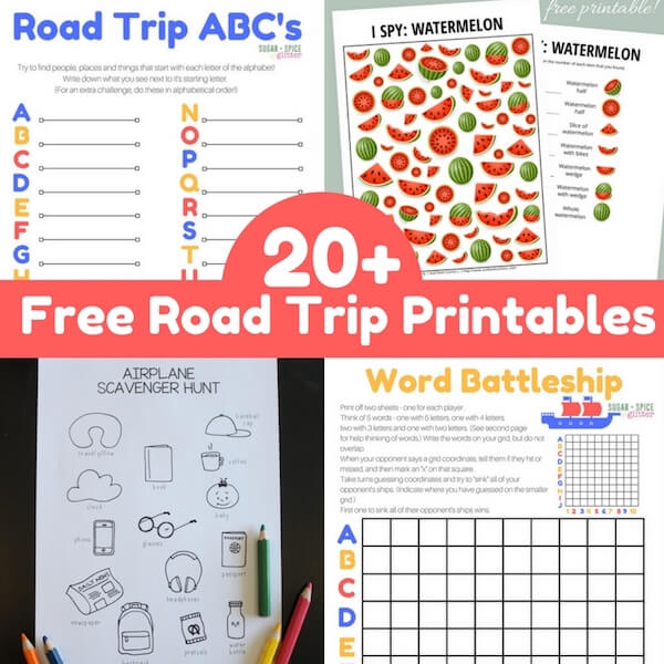 image regarding Road Trip Scavenger Hunt Printable titled 20+ Free of charge Highway Holiday Sport Printables ⋆ Sugar, Spice and Glitter