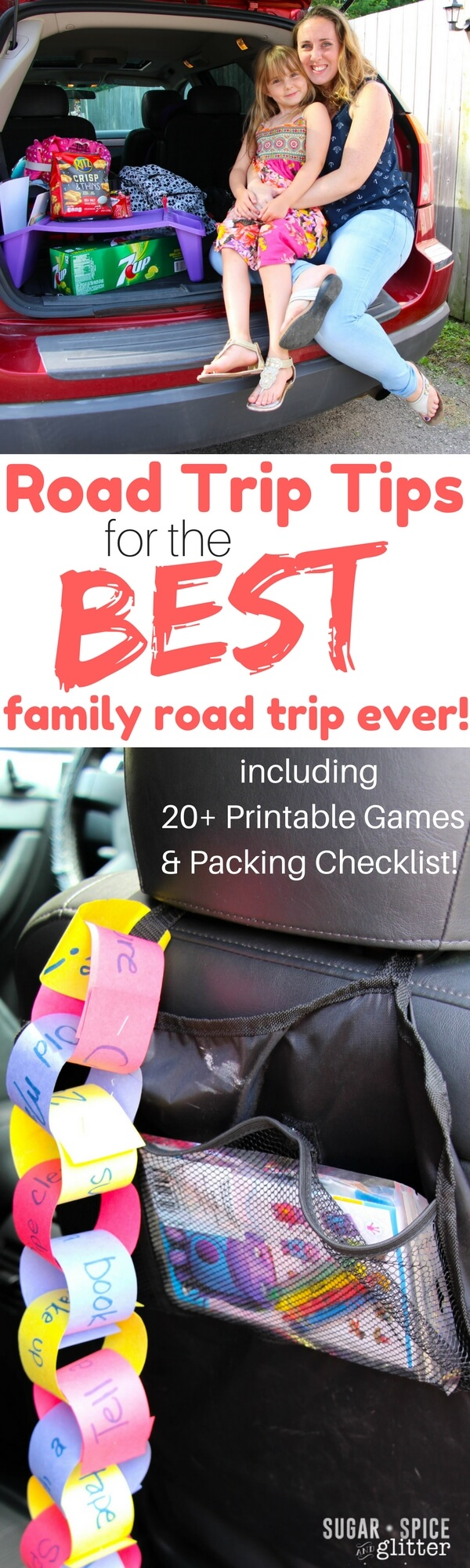 Awesome tips for the best family road trip ever, including activities and what to pack to keep everyone happy. Bonus printable packing checklist and 20+ Printable Road Trip Games for Kids.
