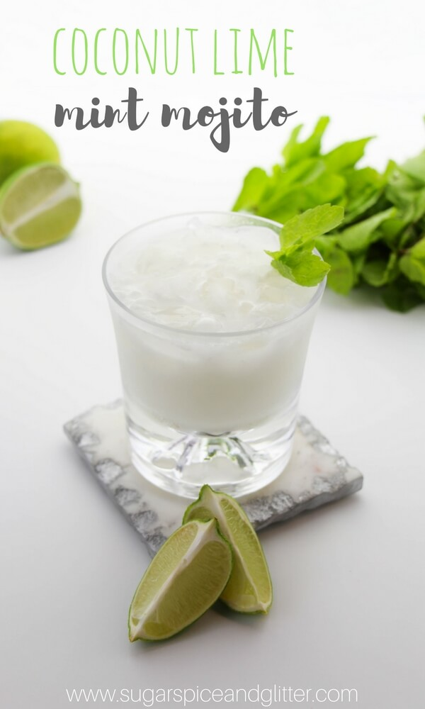 Coconut Mint Mojito, a refreshing lime coconut mint cocktail perfect for summer parties