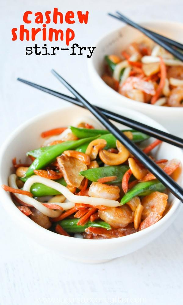 A delicious shrimp stirfry recipe for Cashew Shrimp - a classic copycat restaurant recipe