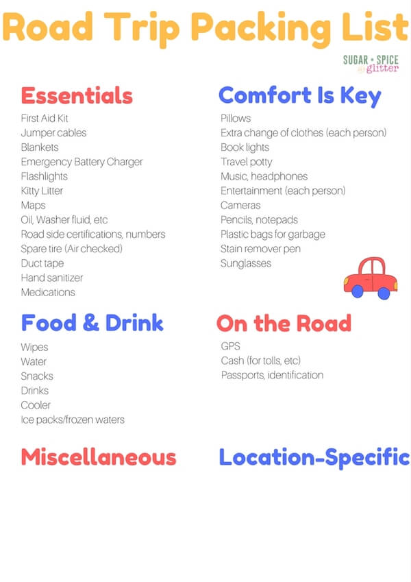 Everything You Need For Your Next Road Trip including a printable road trip packing list