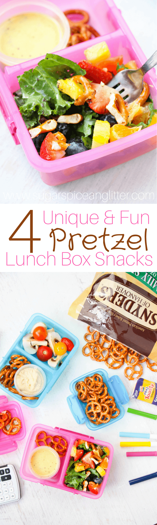 4+ Delicious Pretzel School Snacks - from a Rainbow Salad with Orange Poppyseed Dressing and Pretzels, to  a Pizza Pretzel Sandwich, all of these recipes are lunch box ideas kids can make