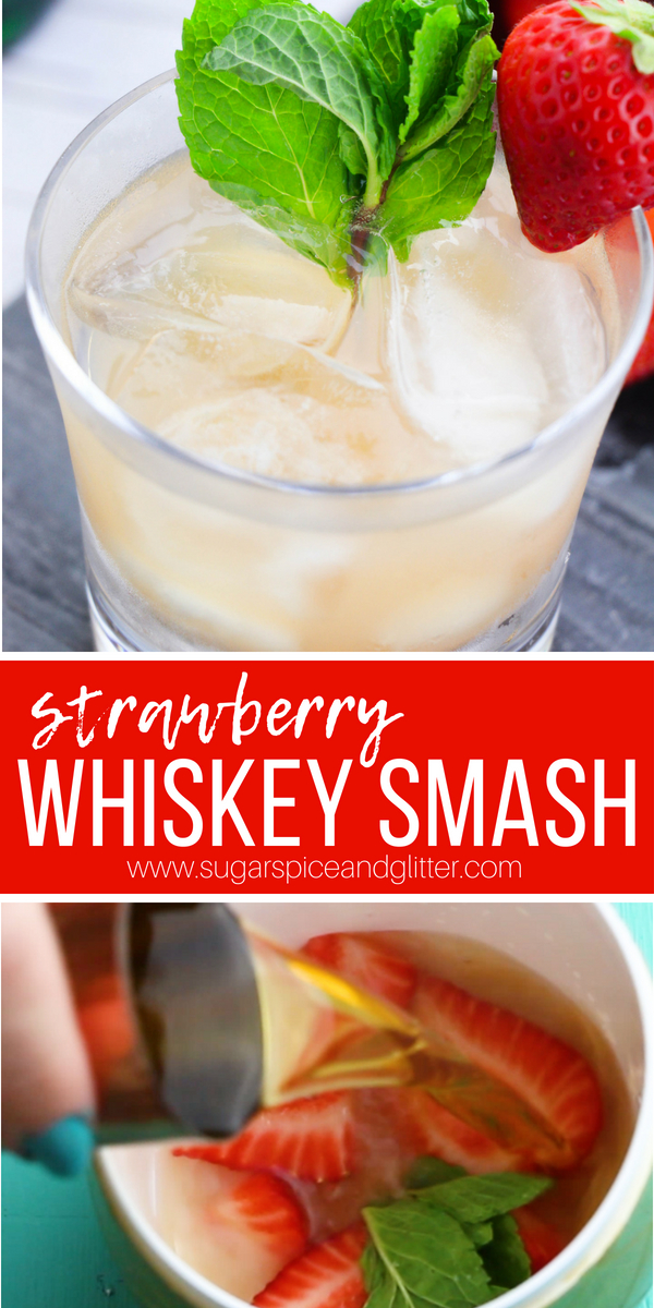The perfect easy whiskey cocktail for summer, this Strawberry Whiskey Smash tastes just like a Strawberry Lemonade. It's the perfect whiskey cocktail for serving to guests who are new to whiskey