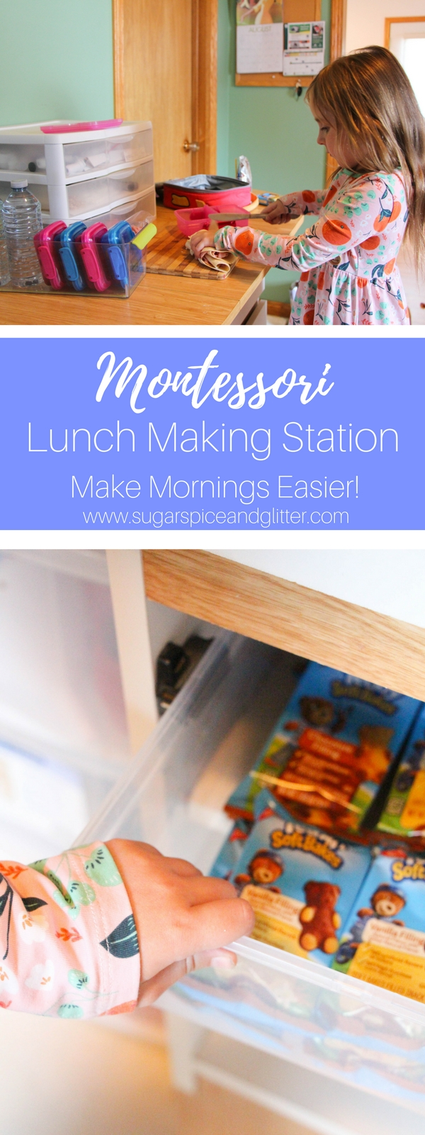 Back to School Montessori Lunch Station for stress-free mornings of independence. An easy way to encourage kids to make their own lunch