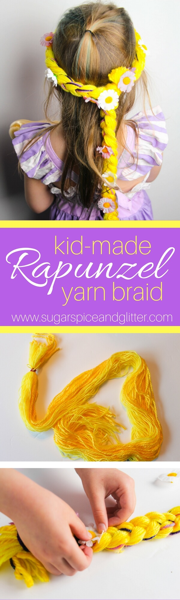 An easy Disney-inspired craft for kids, this Rapunzel yarn braid can be made with just about any color of leftover yarn - white for Elsa, red for Ariel, brown for Belle. A great movie night craft or homemade costume idea