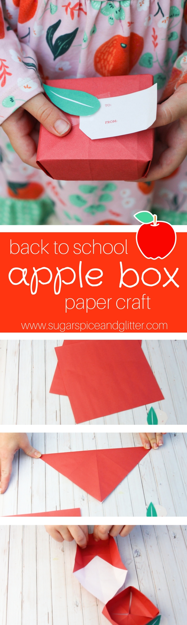 Apple Box Craft for Back to School - an easy first origami project