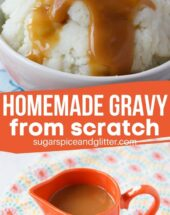 A super simple 5 minute recipe for homemade gravy from scratch - perfect for your holiday meal, but simple enough to make anytime you have a roast or cook a chicken!