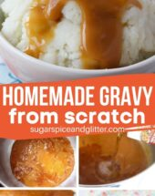 A super simple 5-minute recipe for FROM SCRATCH gravy, made with the pan drippings from a roast, chicken or turkey