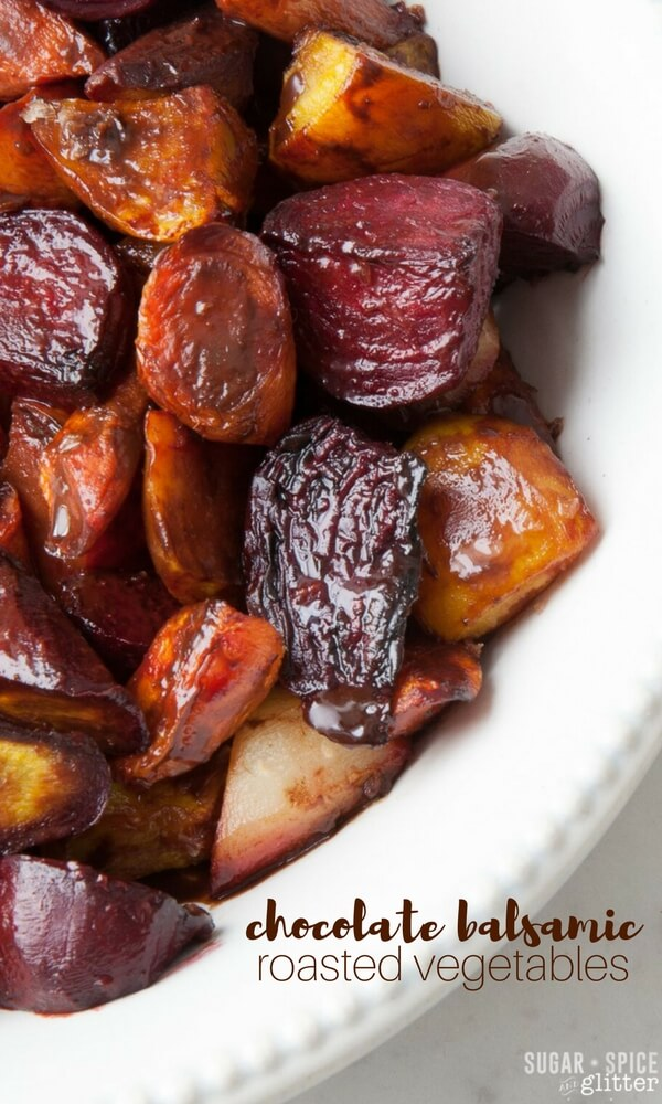 This Chocolate Balsamic Roasted Root Vegetables recipe is an unexpectedly delicious roasted vegetable side dish