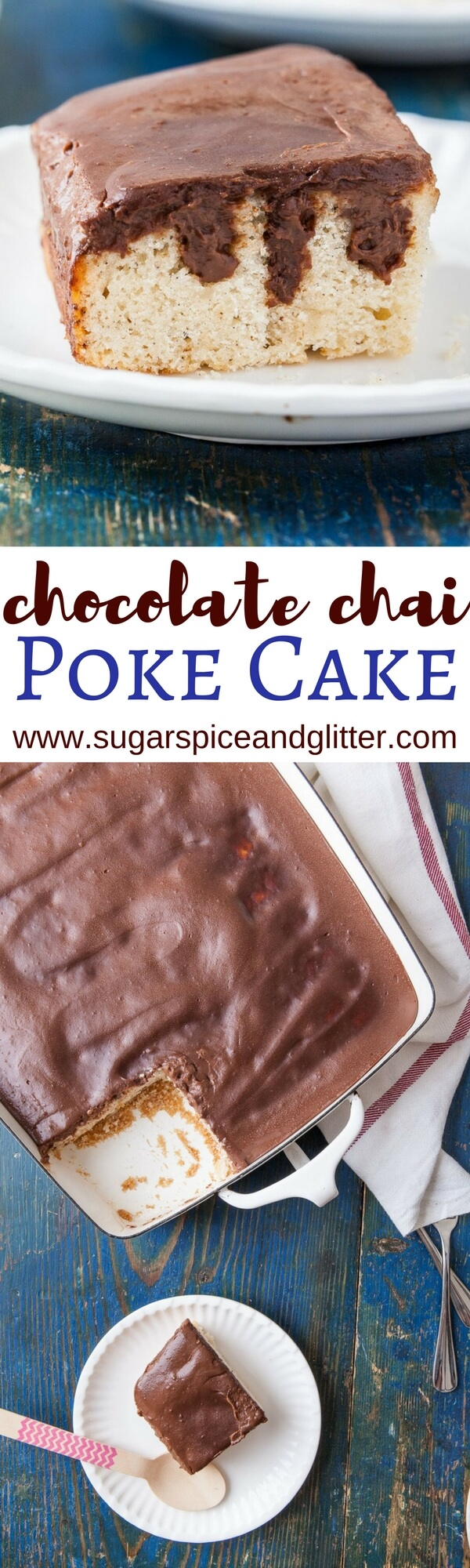 If you love unique chai recipes you're going to love this Chocolate Chai Poke Cake recipe with easy chocolate ganache and spiced vanilla cake. Chocolate Cardamom Poke Cake